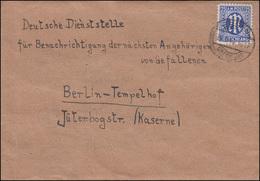 9 AM-Post 25 Pf EF Brief ESSEN-ÜBERRUHR 24.5.46 Nach Berlin Gefallenenstelle - Zone Anglo-Américaine