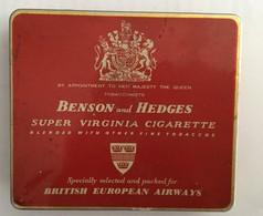 EMPTY  TOBACCO  BOX    TIN    BENSON AND HEDGES SUPER VIRGINIA CIGARETTE  BRITISH EUROPEAN AIRWAYS - Schnupftabakdosen (leer)