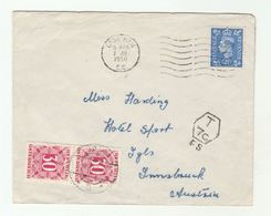 1950 GB To AUSTRIA POST DUE STAMPS Cover  With 'Surcharged Insufficient Postage Prepaid 2 1/2d Instead Of 3d..' On Back - 1902-1951 (Kings)