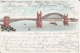 250458Gruss Aus Bonn, Panorama Bonner Rheinbrucke 1900 - Bonn