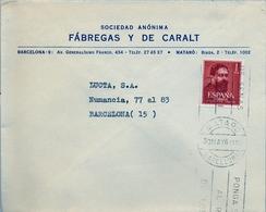 1961 , BARCELONA , SOBRE COMERCIAL CIRCULADO , MATARÓ - FÁBREGAS Y DE CARALT - 1961-70 Briefe U. Dokumente