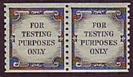 """Pair- USA Test Coil/ATM Stamps """"For Testing Purposes Only"""" Post Unusual - Post"""