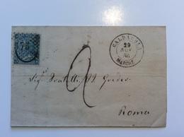 Regno D' Italia CALDAROLA MARCHE (Macerata) 1866 Lettera > Roma Stato Pontificio (cover Lettre - Marcophilia