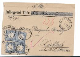 Brs249/ Michel Nr.20, Mef. (4 X) Aus Schmalkalden/Oder Auf Brief Vorderseite 1873 - Deutschland