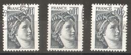France Oblitéré De 1977-1978  -   N° 1962  - 1 C  Gris-foncé   (  3 Exemplaires ) - 1977-81 Sabine Of Gandon