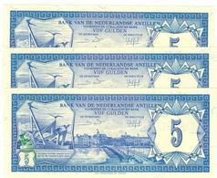 Netherlands Antilles, 5 Gulden 1984, X3 NO CONSEC. UNC. - Antille Olandesi (...-1986)