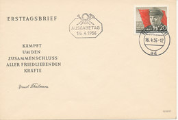 Germany DDR FDC 16-4-1956 Ernst Thälmann With Cachet - FDC: Buste