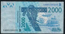 W.A.S. BENIN P216Bn 2000 FRANCS (20)14 FINE NO P.h. - Benin