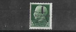 ITALY 1944 VITTORIO EMANUELE III Republica Social  Italiana    N** MNH - 4. 1944-45 Repubblica Sociale