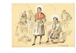 Cpm Illustration BD BARRE DAYEZ, Illustrateur - Croquis Régionaux LES MATELOTES Femme Folklore Poisson Coiffe - Autres Communes