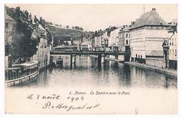 CPA Dos Non Divisé : NAMUR   La Sambre Avec Le Pont , Bateau Touriste - Namur