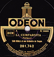 78 T. 25 Cm  état TB -  TANI SCALA - LA MER - LA CUMPARSITA - DANSONS ENCORE - 78 T - Disques Pour Gramophone