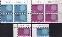 EUROPA 1970 Jugoslawien 1379/0+4-Block ** 5€ Sonne Flecht-Motiv Symbol Kooperation Blocs CEPT Sheets Bf JUGOSLAVIJA - 1945-1992 République Fédérative Populaire De Yougoslavie
