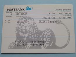 POSTBANK ( Prettige Feestdagen ) Art Unlimited Amsterdam / Anno 1987 ( Tjalf Sparnaay 1987 Afschrift : Zie Foto's ) ! - Banques