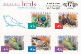 Australia ASC 1935hb 2002 Desert Birds Sheetlet, Overprinted China 2002, Mint Never Hinged - 2000-09 Elizabeth II