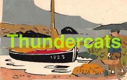 CPA ILLUSTRATEUR CARTE AVEC AJOUTIS DECOUPAGE COLLAGE BATEAU BOAT SHIP - A Systèmes