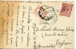 36541 Italia, Card Circuled 1918 From Ozuri To Cagliari, With 10c, Tax - 1900-44 Vittorio Emanuele III