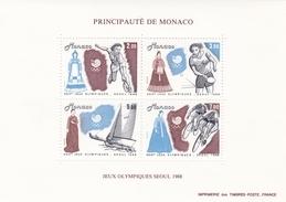 MONACO 1988 TIMBRES BLOC FEUILLET N° 42 JEUX OLYMPIQUES D'ETE A SEOUL - Neufs