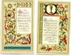 2 Images Pieuses De 1889 - Enluminures , Souvenir De Communion - Santini