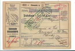WG202 / Chemnitz, Webstuhlfabrik. Komplette Paketkarte 1927, Nach Eriswil, Schweiz - Cartas