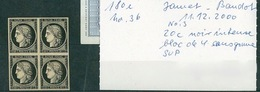 FRANCE Collection Cérès #40 Timbre N°3 Noir Intense Bloc De 4 Sans Gomme Jf Brun - 1849-1850 Ceres