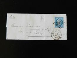 LETTRE DE TOTES POUR ECOS  -  1868  -    OBLITERATION LOSANGE AVEC CACHET 3976  - - Storia Postale