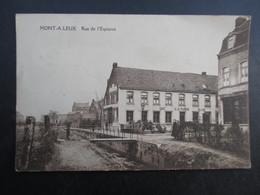 CP BELGIQUE (M1899) MONT-A-LEUX (2 Scans) Rue De L'Espierre Café à La Planche Billard - Mouscron - Möskrön