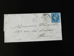 LETTRE DE TOTES POUR ROUEN  -  1863  -    OBLITERATION LOSANGE AVEC CACHET 3976  - - Storia Postale