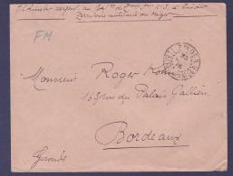 Guinee Lettre Franchise Militaire Cachet Zinder 1916 Pour Bordeaux  France - French Guinea (1892-1944)