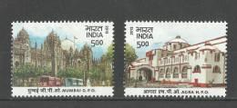 INDIA, 2013, Heritage Buildings, Mumbai GPO & Agra HPO, Set 2 V, MNH, (**) - India
