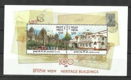 INDIA, 2013,  Heritage Buildings,100 Years Mumbai GPO & Agra HPO, Set 2 V,  Miniature Sheet, , MNH, (**) - India