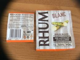 Etiquette « RHUM Blanc - ANTILLES FRANÇAISE» (Canne à Sucre) - Rhum