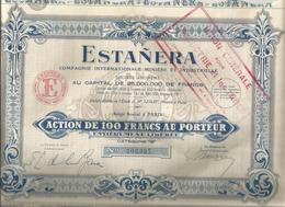 Action De 100 Francs , Catégorie B , ESTANERA , Cgnie. Intle. Minière Et Industrielle, 1928, Frais Fr 1.95 E - Actions & Titres