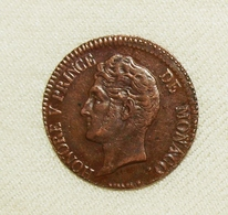 Monaco Honoré V, 1837 MC, 5 Centimes Vz/xf - Monaco