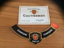 Etiquette Champagne «GAUTHEROT - CELLES SUR OURCE (10) » + Collerette - Champagne