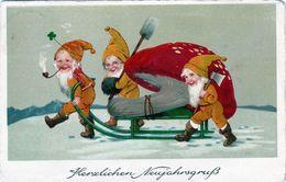 (501) AK Zwerge Ziehen Pilz Auf Einem Schlitten Herzlichen Neujahrsgruß - Anno Nuovo