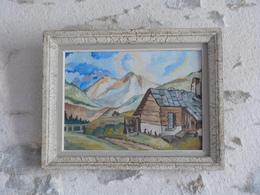Tableau Cadre Bois, Peinture Représentant Un Décor De Montagne, Signé DUMOULIN - Art Populaire