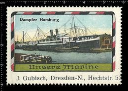 Old German Marine Poster Stamp Cinderella Reklamemarke Erinnofili Publicité Vignette Ship Battleship, Dresden J. Gübisch - Schiffe