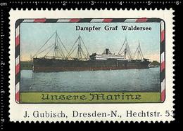 Old German Marine Poster Stamp Cinderella Reklamemarke Erinnofili Publicité Vignette Ship Battleship, Dresden J. Gübisch - Barche