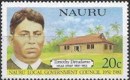 NAURU 1981 30th Anniv Of Nauru Local Government Council. Head Chiefs - 20c Timothy Detudamo MH - Nauru