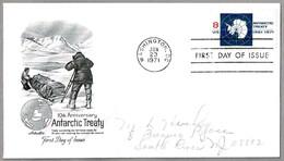 10 Aniv. TRATADO ANTARTICO - 10th Anniv. ANTARTIC TREATY. SPD/FDC. Washington DC, 1971 - Tratado Antártico