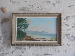 Tableau Cadre Bois, Peinture Sur Toile Représentant Une île Lointaine, Signé - Art Populaire