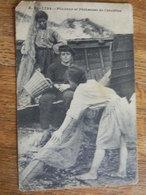 WISSANT:PECHEURS ET PECHEUSES DE CREVETTES AVEC OBLITERATION MILITAIRE BELGE DE 1915 - France