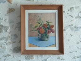 Tableau Cadre Bois, Peinture Sur Bois, Représentant Une Nature Morte, Bouquet De Fleurs, Signé A.EVE - Art Populaire