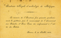 025/27 -  ARCHEOLOGIE BELGIQUE - Carte Imprmée De L' Académie Royale TP Armoiries ANVERS 1899 Vers GAND - Archéologie