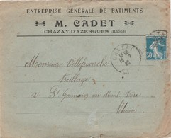 Enveloppe Commerciale 1926 / M. CADET / Entreprise Bâtiment / 69 Chazay D' Azergues / Rhône - Maps