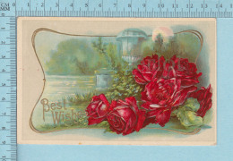 Fleurs Roses - Good Wish , Embossée, Fini Reluisant, CPA Cir 1910 - Fleurs