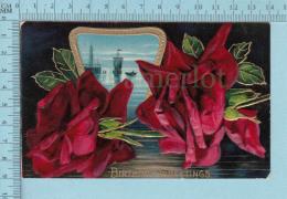 Fleurs Roses & Sail Boat- Good Wish , Embossée, Fini Reluisant, CPA Cir 1909 - Fleurs