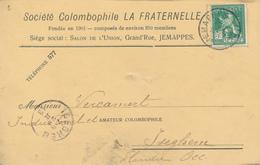 029/27 -  PIGEONS COLOMBOPHILIE BELGIQUE -  Carte Société La Fraternelle à JEMAPPES - TP Pellens 1913 Vers ISEGHEM - Pigeons & Columbiformes