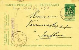 030/27 -  PIGEONS COLOMBOPHILIE BELGIQUE -  Entier Pellens Société Progrès AMAY 1914 Vers ISEGHEM - Pigeons & Columbiformes
